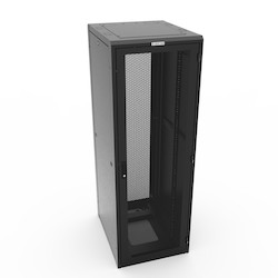 """E Cabinet, 84""""H x 29""""W x 36""""D, 44 RMU, 34"""" Usable Depth, 34"""" Max. Rail Spacing, 1500 lb. Wt. Cap., Black, Includes: Frame levelers, Mesh Front & Rear Door; Solid (2) Side ; 3/8"""" sq. (M6) Mounting Rails ; Solid Top"""