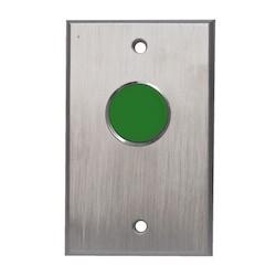 "Door Activation Device Pushbutton, Spring Return, Medium Duty, 1-Gang Faceplate, NO, SPST, Momentary, 12/24 Volt DC, 2-3/4"" Width x 2-1/4"" Depth x 4-1/2"" Height, Green Button"