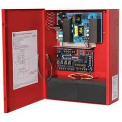 NAC Power Supply, 2 Class A or 4 Class B Outputs, 24VDC @ 10A, 115VAC, Red BC400 Enclosure