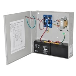 Access Control Power Supply Charger, 2 PTC Class 2 Outputs, 12/24VDC @ 1A, 115VAC, BC100 Enclosure