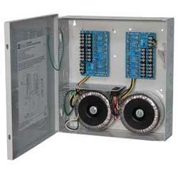CCTV power supply, 16 fused out, 24 V AC @ 25 a / 28 V AC @ 20 a, encl