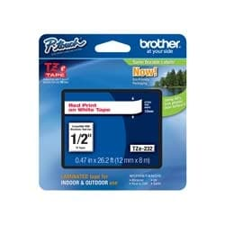 Brother TZE232 Red on White 12 mm Tape for P-touch, 8 m