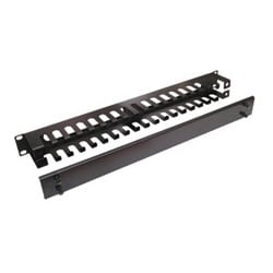 FREE CABLE GUIDE PANEL 19 INCH 1-U RACK MOUNT SPACE WITH BRUSHES BLACK STEEL