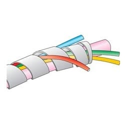"""FIT-Wire-Management, Spiral Wrap, 1/4"""" natural PE, -60 to 88 Degrees, Non-Flame Retardant, No Tube Fraying"""