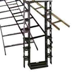 "Two-Post Equipment Rack, Alum., 6"" Uprights, Customer Premise Style, 19"" Width, Flat Black"