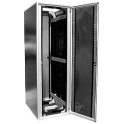 "Seismic Frame Cabinet System; 19""W x 84""H x 36""D; Black; 43 RMU; Top Panel - Vented; Rail Type - Square Punched; Sides - No; Front Door - Solid Plexiglass Door; Rear Door - Solid Metal Door; Fully Assembled"