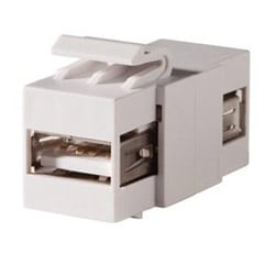 Keystone, USB Type A-A, Feed-Thru, Fog White