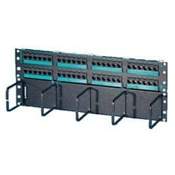 """Clarity 5E hinged 48-port panel with lower cable management panel, Cat5e, six-port modules, 19"""" x 7.0"""""""