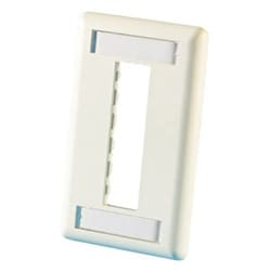 TracJack Faceplate, three-port (single gang), plastic, Wiremold Ivory