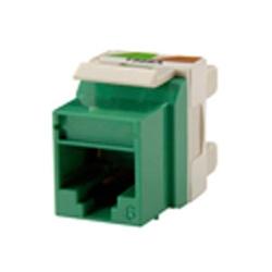 Catégorie 6 Keystone jack, 8-position, degré 180 sortie, câblage de T568A/B compatible, icône, vert. Paquet de 25.