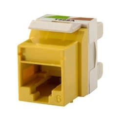 Category 6 Keystone jack, 8-position, 180 degree exit, icon compatible, T568A/B wiring, Yellow. Package of 25.