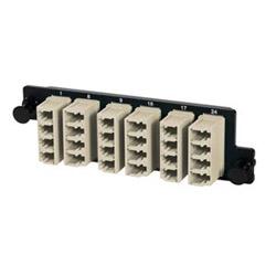 Panneau, HD, 6/LC Quad, adaptateurs Beige, manches métalliques, Multimode, 1U, noir