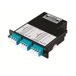 Momentum 2 cassette, 50 micron multimode fiber, 1U, 24 fibers, LC quad connectors