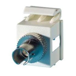Module de Keystone 1-ST fibre, manches alignement simplex, multimode, bronze phosphoreux, 180 degré sortie, brouillard blanc