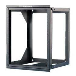 "Wall Mounted Relay Rack, 26 H, 20.25"" W x 26"" H x 18"" D, Black"