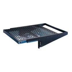 "Vented Equipment Shelf, Slide-out, 17.5 W x 4"" H x 18"" D, Black"