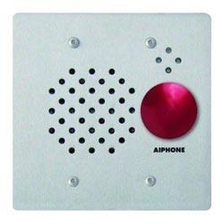 FL Mt 2-Gang sous-station avec bouton champignon rouge, acier inoxydable