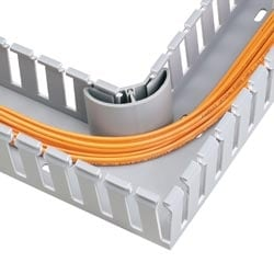 "Corner Strip, Wiring Duct, 1"" (25.4mm) Bend Radius, Pre-cut For 3"" Wall Height, Light Gray"