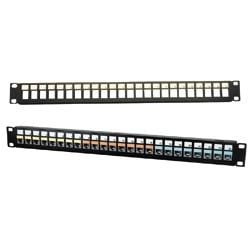 48-PORT PATCH PANEL UNLOADED  USE W/XCELERATOR JACKS & SNAP FIT CONNS 2U BLACK