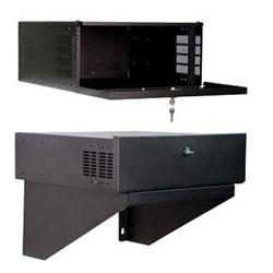 "DVR Lock Box, 6.3""H x 21""W x 21""D, 3 RMU, Weight capacity 100 lbs., Shipping Weight 24 lbs., RoHS, Black"