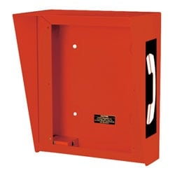 Outdoor Bright RED Enclosure with a Phone Symbol on Each Side Design Offers Surface-mount Solutions for the Flush-mount RED ALERT Emergency Telephones and Rugged Handset Telephones