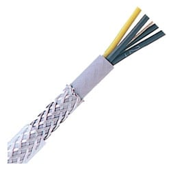 "Oil Resistant Flexible Control & Power Cable, Stationary, 14 AWG (50/30) 2.50 mm2, 5 conductor, Transparent PVC Jacket, Unshielded, Steel Braid0.52"" Outer Diameter, 6 Bend radius"