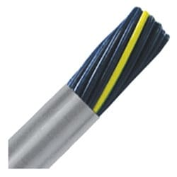 "Oil Resistant Flexible Control & Power Cable, Stationary, 14 AWG (46/30) 2.50 mm2, 5 conductor, Gray PVC Jacket, Unshielded, 0.421"" Outer Diameter, 4 Bend radius"