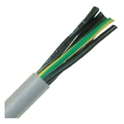 """Oil Resistant Flexible Control & Power Cable, Stationary, 16 AWG (26/30) 1.50 mm2, 2 conductor, Gray PUR Jacket, Unshielded, 0.295"""" Outer Diameter, 4 Bend radius"""