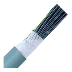 "Continuous Flex Control Cable, Stationary,18 AWG (1.00mm2), 3 conductor, Gray PVC Jacket, Unshielded, 0.260"" Outer Diameter, 7.5 Bend radius"