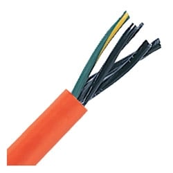 """Severe Duty Power Cable; Bus Drop Cable, Stationary 2 AWG (33.7 mm2), 4 conductor, Orange TPE Jacket, 1.282"""" Outer Diameter, 5 Bend radius"""