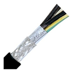 "Flexible Tray Cables, Stationary, 16 AWG (28/30) 1.5 mm2, 3 conductor, Black PVC Jacket, Unshielded, Foil Wrap & Tinned Copper Braid0.35"" Outer Diameter, 7.5 Bend radius"