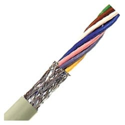 "Flexible Signal & Control Cable, Stationary, 22 AWG (7/30) 0.34 mm2, 18 conductor, Gray PVC Jacket, Unshielded, Tinned Copper Braid0.402"" Outer Diameter, 6 Bend radius"