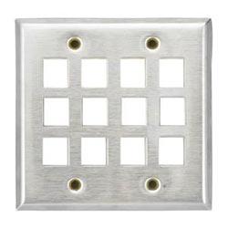 KeyConnect façades en acier inoxydable 12-Port, Double bande, Flush