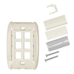 Panels - MediaFlex Faceplate Kit for KeyConnect Modules 6-Port, Flush, Single-gang Almond