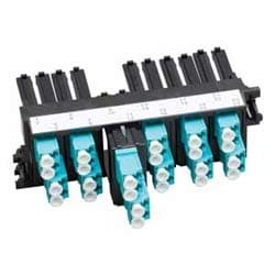 "Modular Connector, 6-Port, FX Ultra Frame, LC Duplex, 4.46"" Width x 2.2"" Depth x 1.5"" Height, Black Plastic Frame, Aqua Plastic Body"