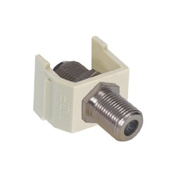 Audio Video Connector, F-Type Coupler, nickel, white. Sold in carton increments only. Carton contains - 25 keystone connectors (individually bagged).
