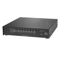 Switcher séquentielle avec manuel ou automatique de commutation de 8 entrées vidéo (résiliation ou une boucle), 2 sorties vidéo. Aucune entrée d'alarme. Ordinateur de bureau uniquement. 120 V AC Input