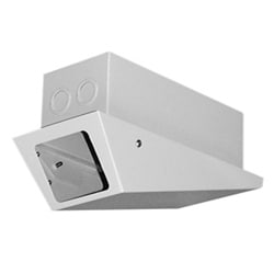 Enclosure, Indoor. Low Profile Wedge-style for Drop Ceiling Applications. Security Rated with Hinged Lower Cover and Two Tamperproof Screws. Aluminum Backbox