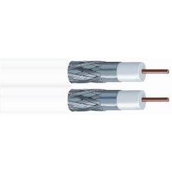 Veste tresse non-halogène câble Coaxial, blanc de double Type RG-6 60 %, bobine ft 1000 (305 m)