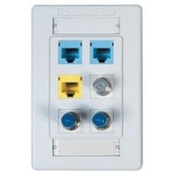 Interface Plates 6-PORT Single Gang Flush White