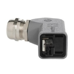Data Han3A RJ45: RJI IP67 DATA PLUG metal angl Han3M COMP
