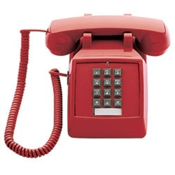 Scitec 2510E Standard Desk Telephone, Red, Single-Line, Corded Without Message Waiting Light And Double-gong Bell Ringer