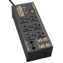 Isobar 6-Outlet Surge Protector, 6 ft. Cord with Right-Angle Plug, 2850 Joules, Diagnostic LEDs, Tel/Coax/Modem, Metal