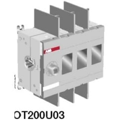Non-Fused Disconnect Switch. 200 Amp. Base and DIN Rail Mounted. 3-Pole AC. UL 98. For use with 6 mm Shafts and Handles.