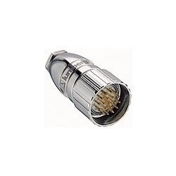 M23 Field attachable connector, male connector, 19-pole with threaded joint, assembling with solder connections.