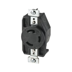Hart-Lock Industrial Receptacle, 30A/125V, NEMA L5-30, 2-Pole, 3-Wire Grounding, Back & Side Wire, #14 - #8 AWG, Glass-filled nylon, Black