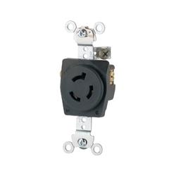 Prise industrielle Hart-Lock, 15 a/250V, NEMA L6-15, 2 pôles, 3 fils mise à la terre, dos et côté fil, AWG 16-12, fibre de verre en Nylon, noir
