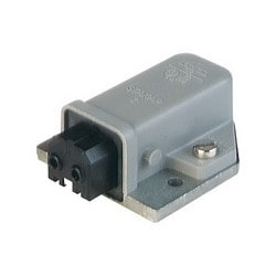 STAKAP 2 grey; Surface mounted Socket with cast baseplate, 2 contacts + PE, female, 16A 250V AC, 10A 250V DC