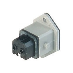 STAKEI 2 grey; Panel-mounted Socket, added gasket, 2 contacts + PE, female, 16A AC 10A DC, 250V AC/DC