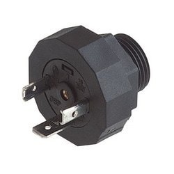 GSP 213 PG13,5 black; Appliance connector with thread, threaded sleeve, grip ring, o-ring (NBR), 2 contacts + PE, DIN EN 175 301-803-A, Type A